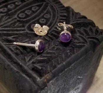 Tiny purple enamel stud earrings
