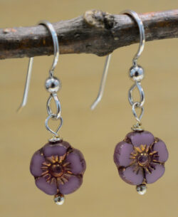 handmade Czech glass flower earrings
