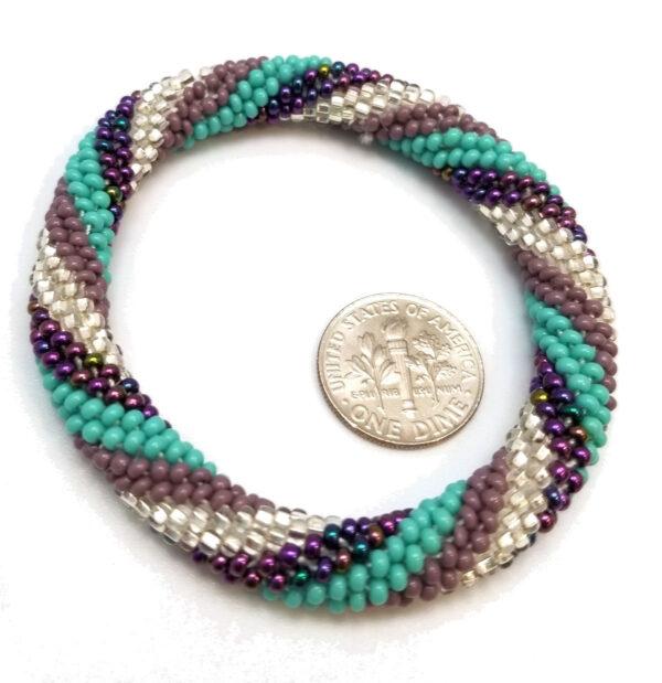 Czech glass bracelet with dime to help judge scale