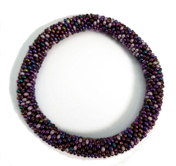 purple Czech glass roll-on bracelet