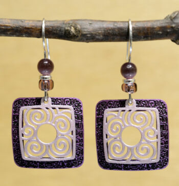 purple square with swirls Adajio earrings