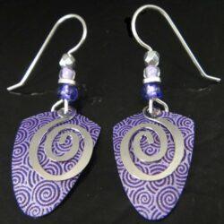 purple swirls Adajio drop earrings