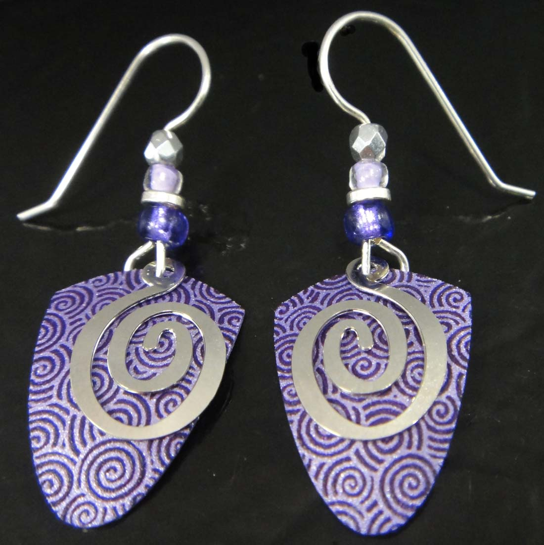 purple swirls Adajio drop earrings