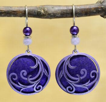 purple circle with swirls earrings