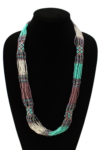 purple, teal, and silver-tone long beaded necklace with no clasp