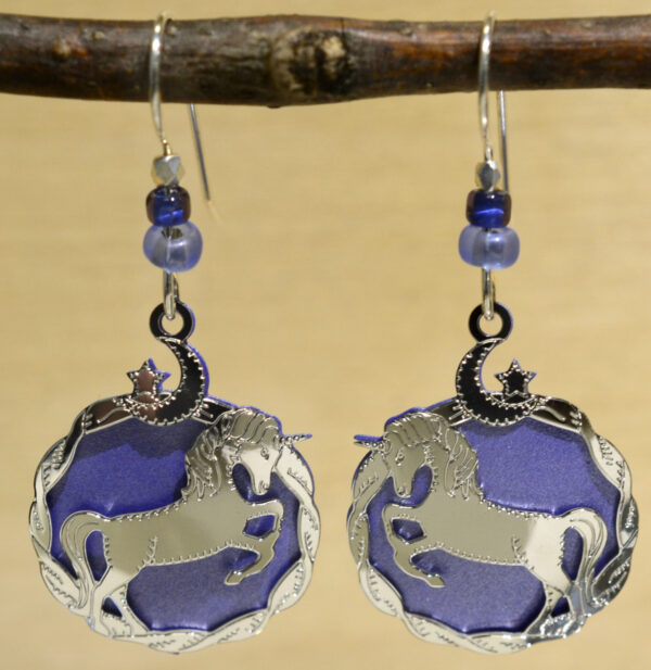 Sienna Sky purple unicorn dangle earrings