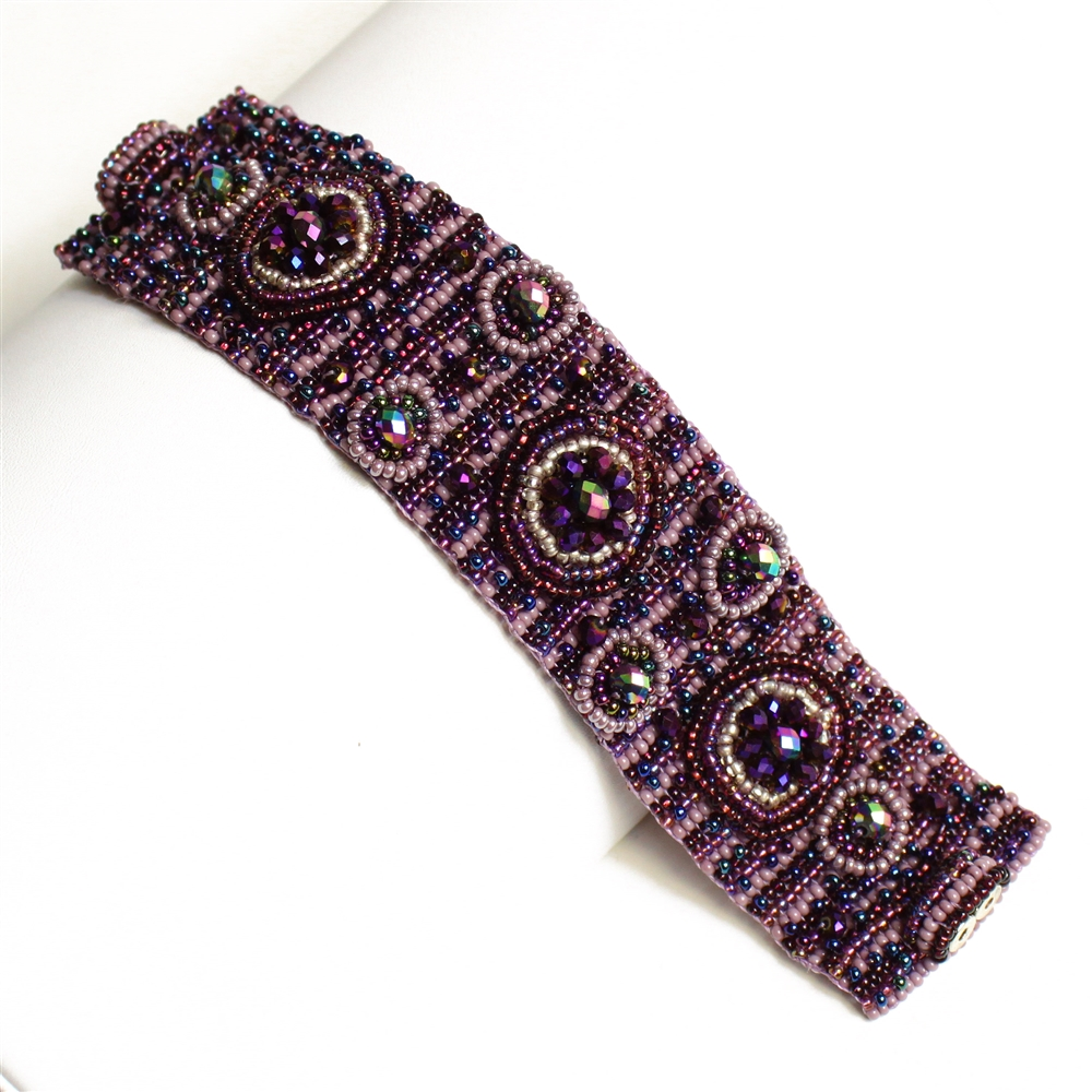 Purple wide woven seed bead bracelet with double magnet clasp