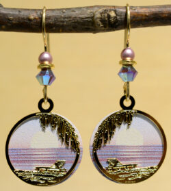 pink and purple sunset beach Sienna Sky dangle earrings