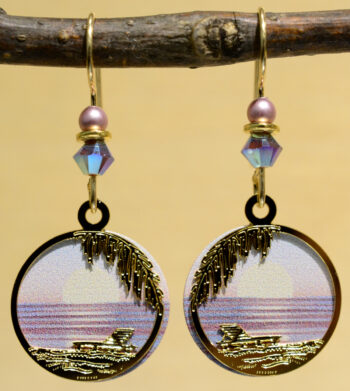 pink and purple sunset beach Sienna Sky dangle earrings