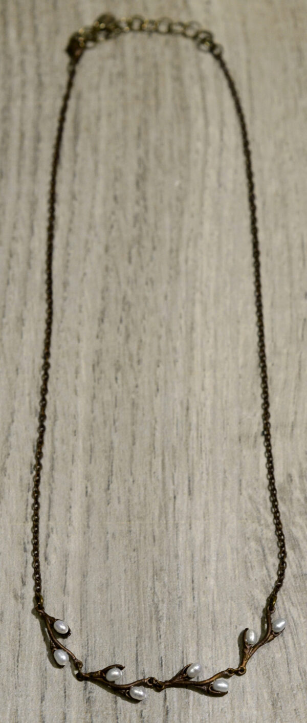Michael Michaud Silver Seasons Pussy Willow necklace with freshwater pearls