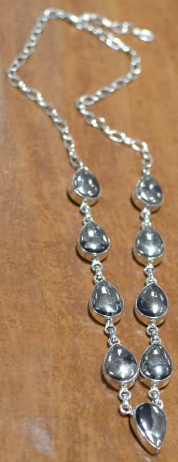 handmade pyrite and sterling silver necklace