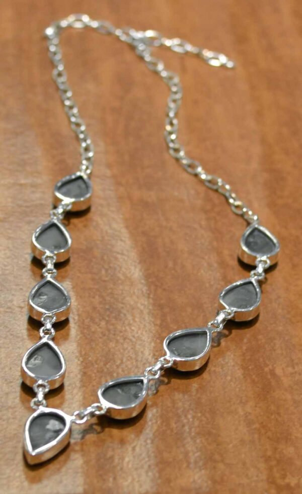 back of handmade pyrite and sterling silver necklace