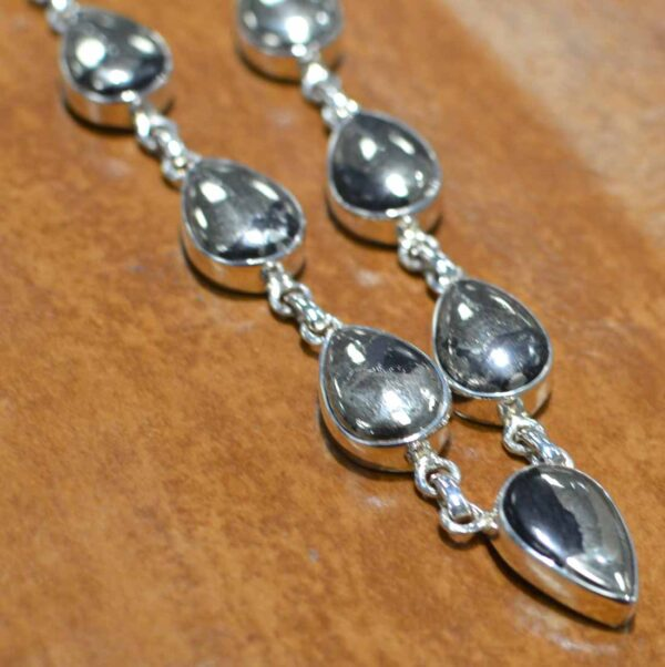 handmade pyrite and sterling silver necklace close-up