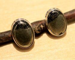 handmade polished pyrite earrings