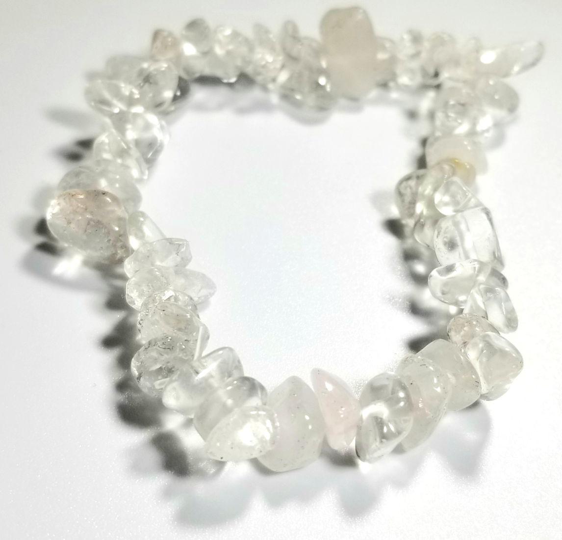 quartz crystal gemstone chip stretch bracelet