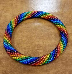 Roll-on rainbow Czech glass seed bead bracelet