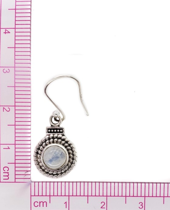rainbow moonstone and sterling silver earrings with ruler