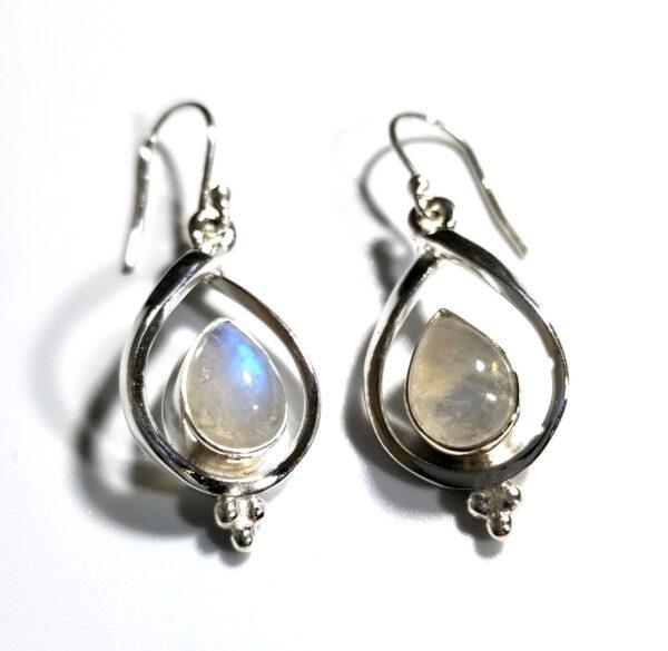 rainbow moonstone and sterling silver drop earrings