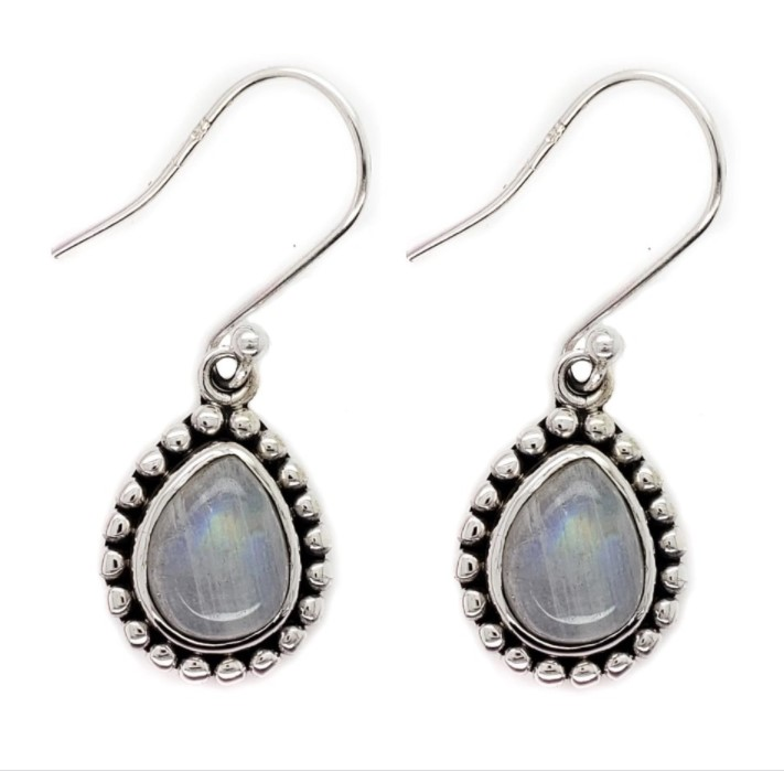 rainbow moonstone drop sterling silver earrings