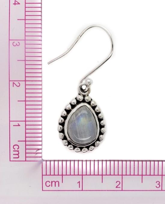 rainbow moonstone drop earring with ruler