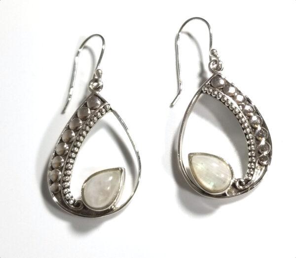 rainbow moonstone drop earrings with fancy silver drop setting