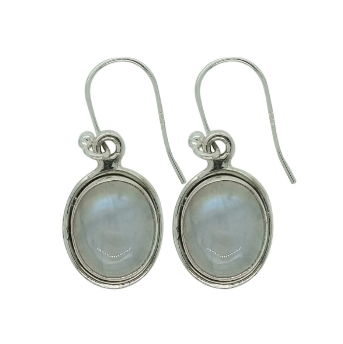 rainbow moonstone and sterling silver oval earrings