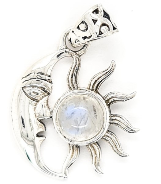 Rainbow Moonstone sun and man in the moon pendant in sterling silver