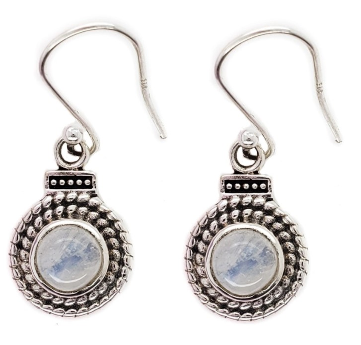 Rainbow Moonstone and sterling silver double twisted silver design