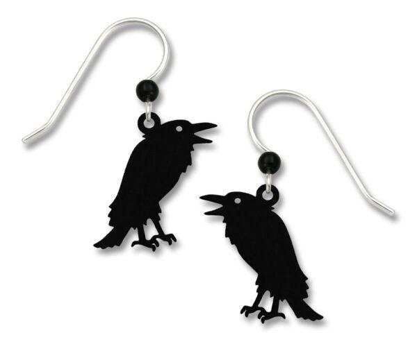 Raven earrings with sterling silver earwire