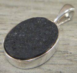 black jade sterling silver pendant