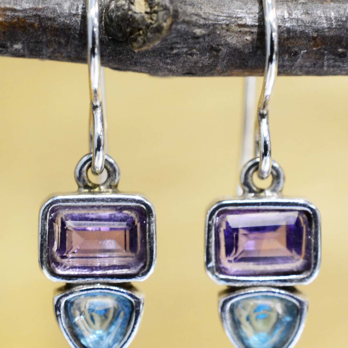 Amethyst, blue topaz, and sterling silver handmade earrings