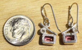 Back of pink topaz and white pearl sterling silver earrings handmade by Sonoma Art Works (pictured with dime for scale)