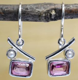 These rectangular pink topaz and pearl earrings are handmade by Sonoma Art Works.