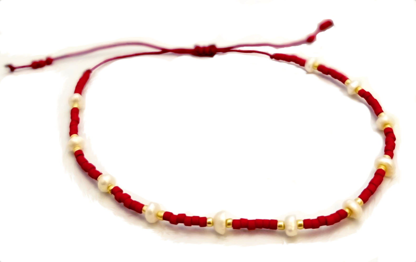 white fresh water pearl and red seed bead adjustable bracelet