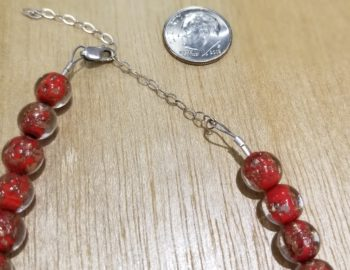 Murano glass necklace clasp with dime for scale