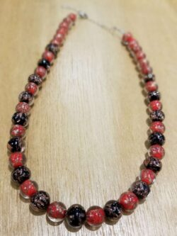 red and black Murano glass beaded necklace