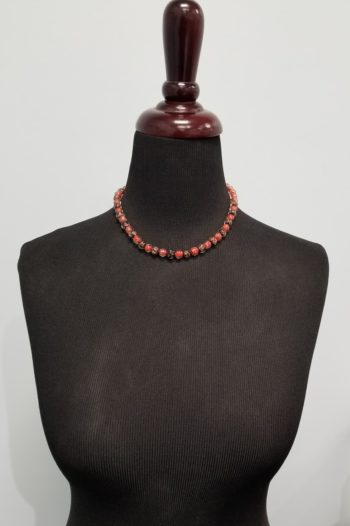 short red and black Murano glass necklace