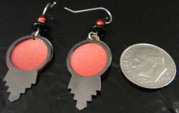 Red and silvertone dream catcher earrings