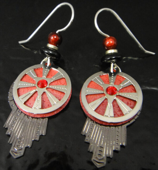 Red and silver dream catcher adajio earrings