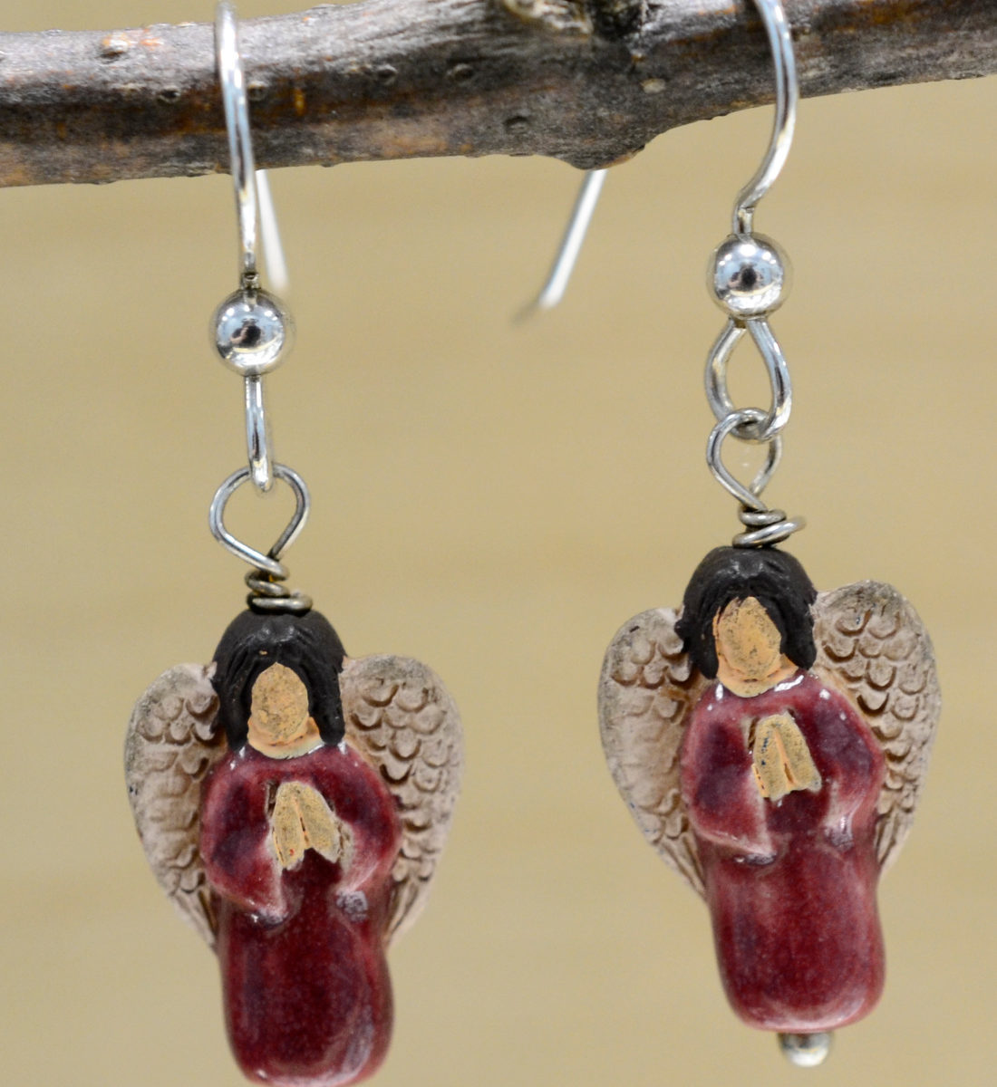 handmade red ceramic angel earrings