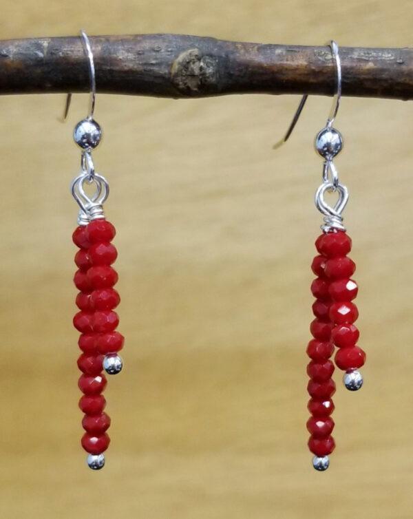 red faceted art glass dangle earrings