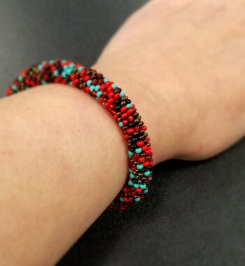 red, blue, bronze, and black Czech glass beaded roll-on bracelet
