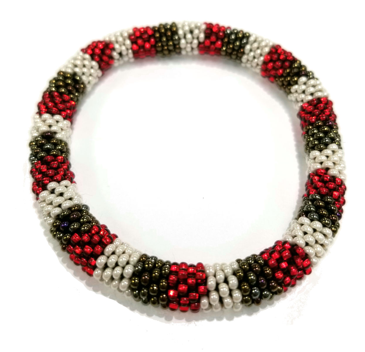 red, white, and bronze roll-on Czech glass seed bead bracelet