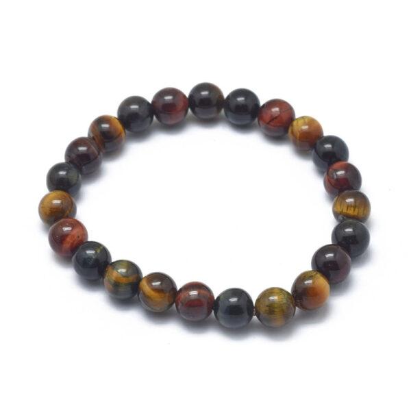 Brown, red cherry, and blue tiger's eye gemstone bead stretch bracelet