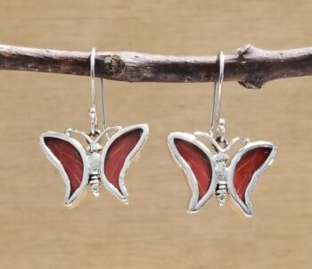 red real butterfly wing earrings