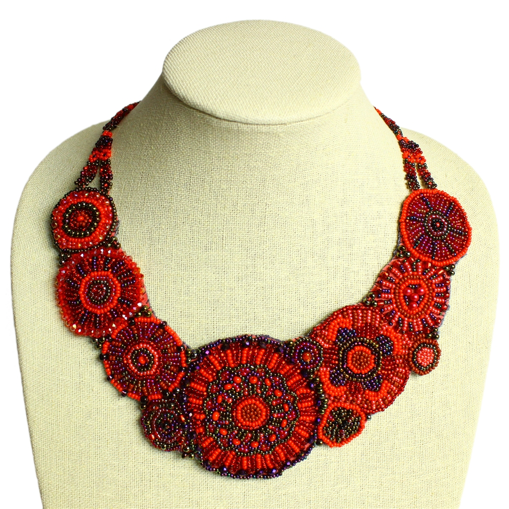 Czech glass beaded red statement necklace