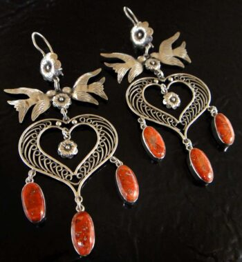 handmade large red coral and sterling silver earrings with birds