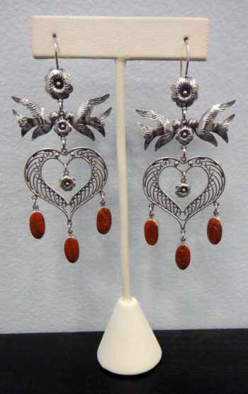 handmade red coral and sterling silver large statement bird earrings