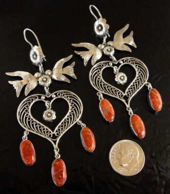 large red coral and sterling silver bird earrings with dime for size
