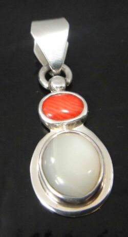 red coral and mother of pearl silver pendant